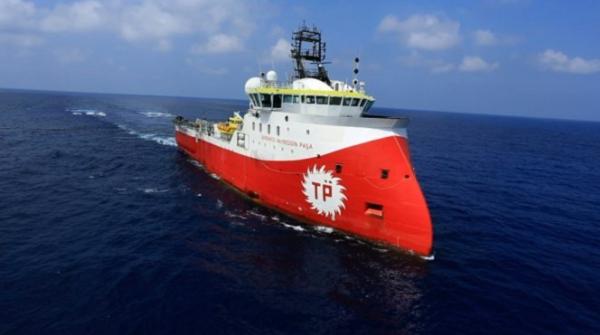 터키석유공사가 키프로스 가스 개발 탐사를 위해 키프로스 남부 해역에 보낸 바르바로스 하이레딘 파사 선박. (사진=터키석유공사)