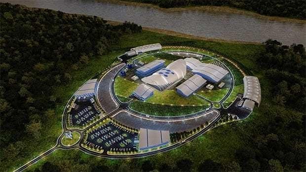 미국 뉴스케일파워의 소형모듈원전(SMR)플랜트 가상 조감도. (사진=두산중공업)